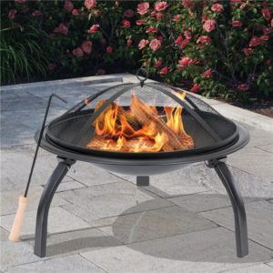 BillyOh Oakland Small Round Foldable Steel Fire Pit - Small Foldable Fire Pit