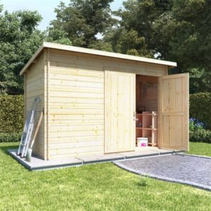 BillyOh Pent Log Cabin Windowless Heavy Duty Shed Range - 10x6 Log Cabin Double Door - 28mm