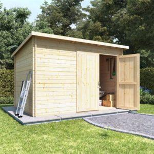 BillyOh Pent Log Cabin Windowless Heavy Duty Shed Range - 10x8 Log Cabin Double Door - 28mm