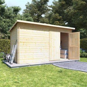 BillyOh Pent Log Cabin Windowless Heavy Duty Shed Range - 12x6 Log Cabin Double Door - 28mm