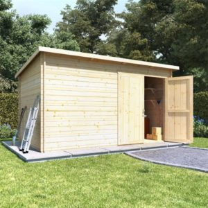 BillyOh Pent Log Cabin Windowless Heavy Duty Shed Range - 12x8 Log Cabin Double Door - 28mm
