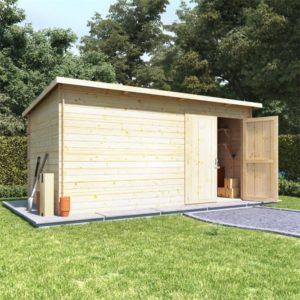 BillyOh Pent Log Cabin Windowless Heavy Duty Shed Range - 14x8 Log Cabin Double Door - 19mm