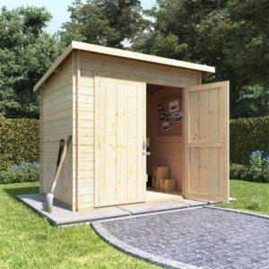 BillyOh Pent Log Cabin Windowless Heavy Duty Shed Range - 8x6 Log Cabin Double Door - 28mm