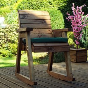 Charles Taylor 2 Garden Rocker Set With Square Table & Parasol - Green Cushions