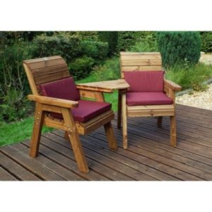 Charles Taylor 2 Seat Angled Garden Bench - Burgundy Cushions