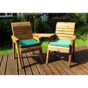 Charles Taylor 2 Seat Angled Garden Bench - Green Cushions