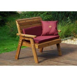 Charles Taylor 2 Seat Garden Bench - Burgundy Cushions