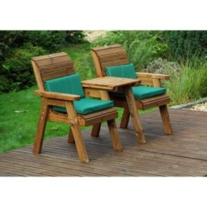 Charles Taylor 2 Seat Garden Bench - Green Cushions