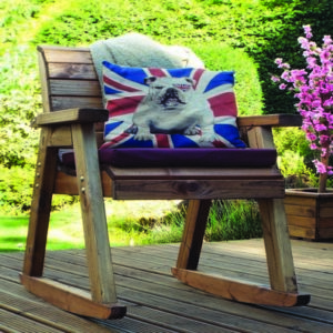 Charles Taylor 2 x Garden Rocker Set With Square Table - Parasol & Burgundy Cushions