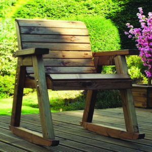Charles Taylor 2 x Garden Rocker Set With Square Table & Parasol -Grey Cushions