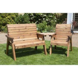Charles Taylor 3 Seat Set Angled Garden Bench - Burgundy Cushions