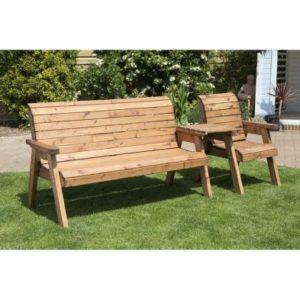 Charles Taylor 4 Seat Garden Bench - Burgundy Cushions