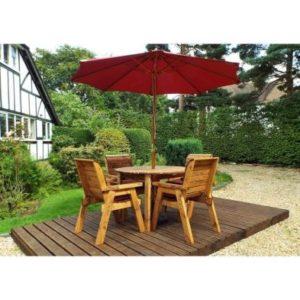 Charles Taylor 4 Seat Round Garden Table Set - Burgundy Parasol & Base