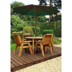 Charles Taylor 4 Seat Round Garden Table Set With Green Parasol & Base