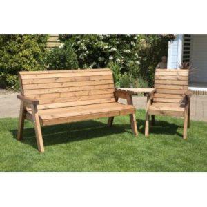 Charles Taylor 4 Seat Set Angled Garden Bench - Burgundy Cushions