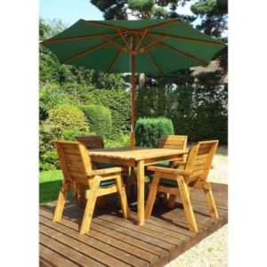 Charles Taylor 4 Seat Square Garden Table Set - Green Parasol & Base