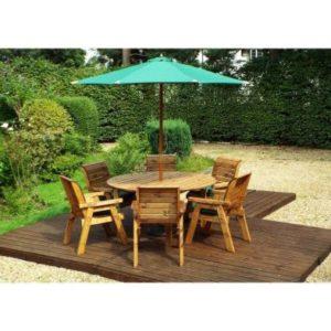 Charles Taylor 6 Seat Circular Garden Table Set - Green Parasol & Base