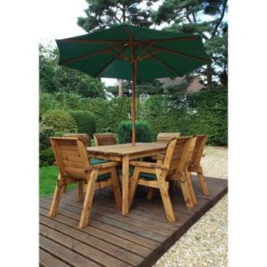 Charles Taylor 6 Seat Garden Table Set With Green Parasol & Base
