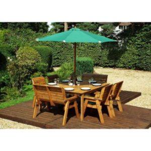Charles Taylor 8 Seat Square Garden Table Set - Green Parasol & Base