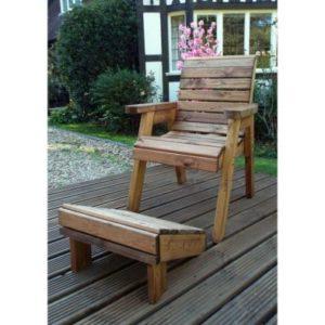 Charles Taylor Chair Lounger & Foot Stool - Green Cushion