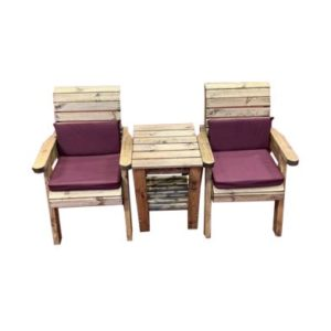 Charles Taylor Deluxe 2 Seat Garden Bench - Burgundy Cushions