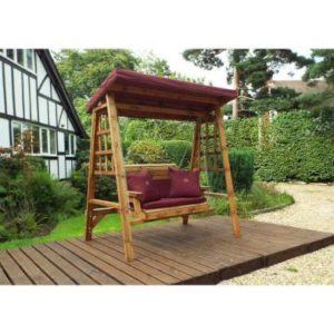 Charles Taylor Dorset 2 Seat Garden Swing - Burgundy Cushions
