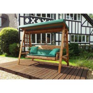Charles Taylor Dorset 3 Seat Swing - Green Cushions