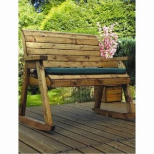 Charles Taylor Rocker 2 Seat Garden Bench - Green Cushions