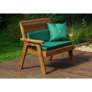 Charles Taylor Traditional 2 Seat Garden Bench With Green Cushion