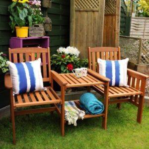 Dalby Hardwood Tete-a-tete Companion Love Seat Garden Bench & Table