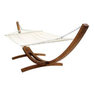 Extra Large 2 Person Garden Hammock with Wooden Arc Stand Cream 4M