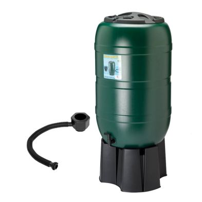 Plastic Round Garden Water Butt with Tap Stand & Filter Kit 210L