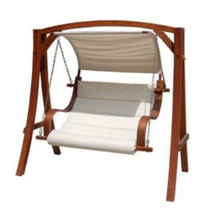 Wooden Large 2-3 Seater Garden Swing Seat Hammock with Canopy Cream 1.