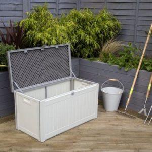 Bentley Plastic Garden Storage Box Beige & Grey 190L