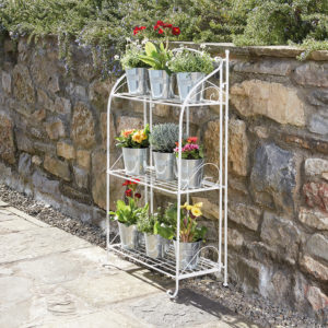 3 Wire Shelf Metal Plant Stand Green