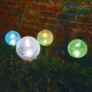 Bright Garden Solar Dual Function Crackle Ball Light - White