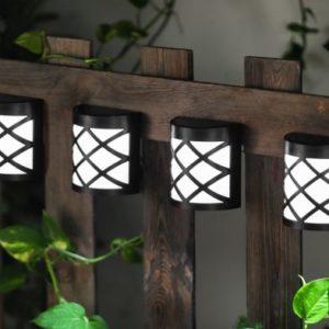 Bright Garden Solar Fence Lights Black - 4 Pack