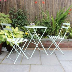 Metal 3 Piece Garden Patio Bistro Table with 2 Chairs