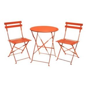 Metal 3 Piece Garden Patio Furniture Table with 2 Chairs Coral
