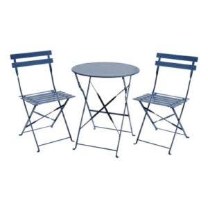 Metal 3 Piece Garden Patio Furniture Table with 2 Chairs Navy Grey