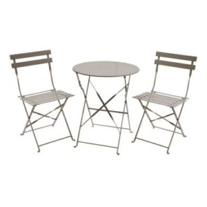 Metal 3 Piece Garden Patio Furniture Table with 2 Chairs Taupe