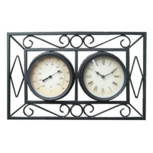 Ornate Metal Wall Mount Garden Wall Clock & Thermometer - Black