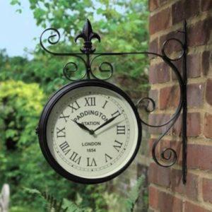 Paddington Metal Double Sided Garden Wall Clock - Black