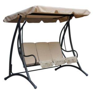 Premium 3 Seater Garden Swing Seat with Beige Canopy