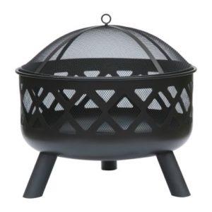 Round Garden Fire Pit Black