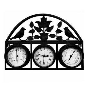 Shabby Chic Garden Wall Clock with Thermometer & Hygrometer Dark Grey