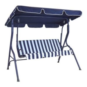 2 Seater Garden Patio Swing Seat Hammock Chair - Blue Striped