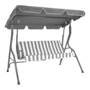 2 Seater Garden Patio Swing Seat Hammock Chair - Grey Striped