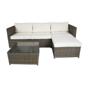 3 Seater L-Shaped Garden Rattan Furniture Lounge Set - Brown