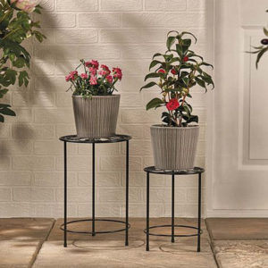 Garden Gear Plant Pot Stand ? 2 Pack Black